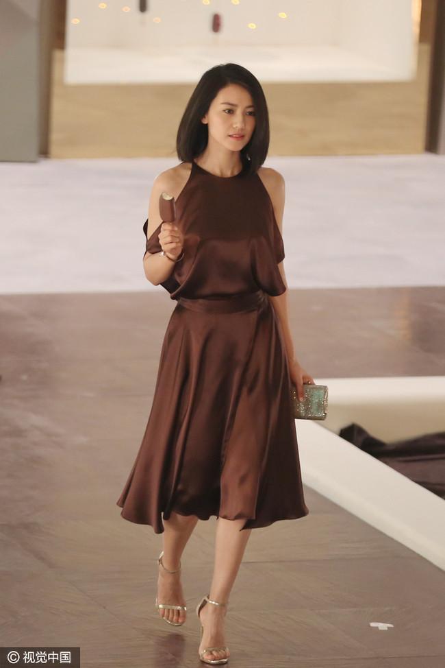话说高圆圆身穿咖啡色丝质长裙,看起来和雪糕好似融为一体.