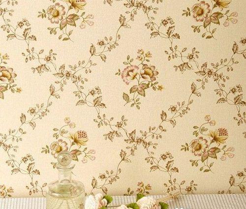 卧室贴墙纸效果图:欧式田园风格墙壁纸图片