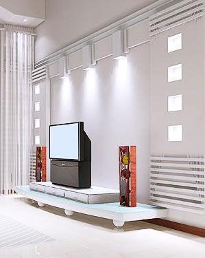 客厅电视背景墙装修图片:小房间如果用布料做背景墙则面积不宜过大.