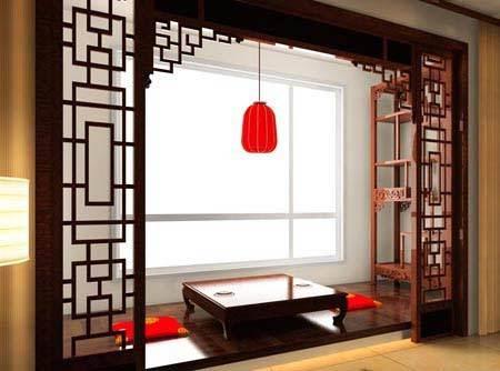 客厅阳台装修效果图:中式古典韵味,打造中式最典雅的榻榻米.